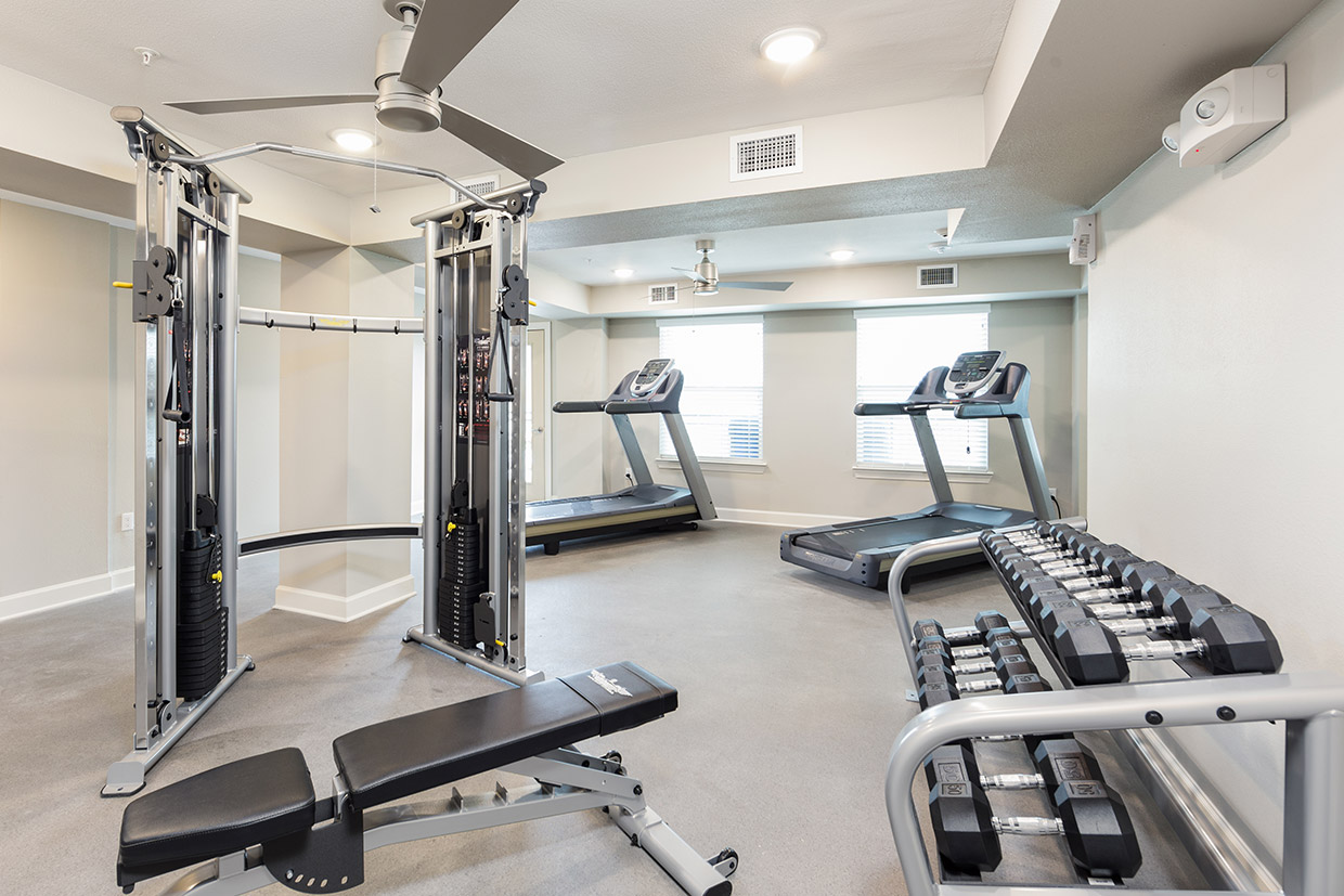 Goodnight Commons fitness center with treadmills, free weights, and cable machine